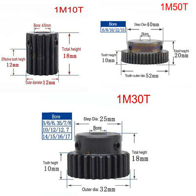 1 Mod 10T 30T 50T High Precision Spur Gear 45# Steel Pinion Gear With Steps