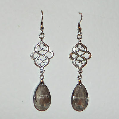 Victorian Persian Style Grey Faceted Glass Silver Plated Earrings