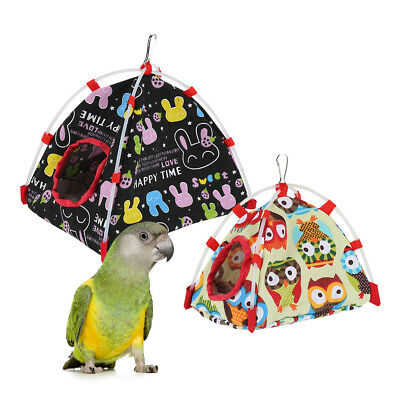 Parrot Happy Hut Pet Cozy Cage Snuggle Tent Bunk Hammock Bird Toy Craft Cages