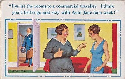 "Donald McGill postcard No 934 ""I've let the rooms to a commercial traveller."""