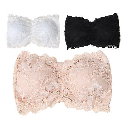 Women Cami Top Padded Elastic Lace Strapless Seamless Bandeau Bra Boob Tube New