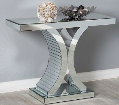 Mirrored Console Hallway Side Table Silver Mirror Modern Glass Chic Furniture