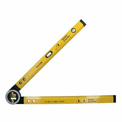 "24"" / 600mm Multi Angle Ruler Protractor Spirit Level Scaffolding Builder Level"