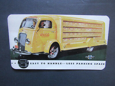 Orig c 1940s International Harvester Advertising Postcard Coca Cola Bottle Truck
