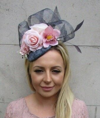 Dark Grey Charcoal Light Blush Nude Pink Rose Flower Feather Hat Fascinator 6070