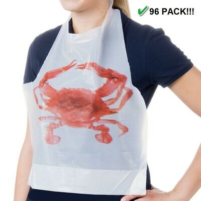 96 Pack Of Adult Disposable Plastic Crab Bibs | Fast Free Shipping