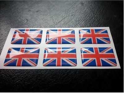 6 X Union Jack Flag Resin 3D Domed England Sticker label 27mm x 16mm waterproof