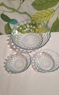 Vintage Anchor Hocking Bubble Serving Bowl and 2 Small Bowls Blue Tint