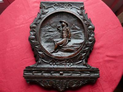 French Antique Hand Carved Wood Panel Rustic Breton