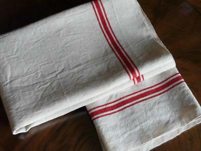 2 Vtg French Linen Metis Tea Towels Unused With Red Stripes