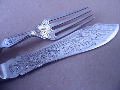 Pretty Victorian Sterling Silver Fish Set Knife & Fork 1874