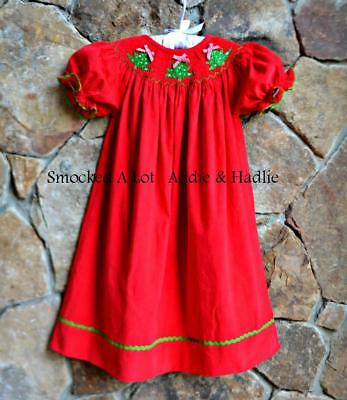 86d2fc70a13a Smocked A Lot Girls Christmas Tree Bishop Dress Red Corduroy Santa Green  Outfit