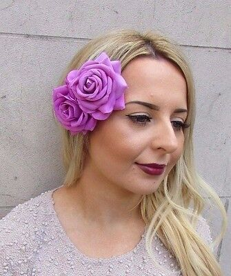 Large Fuchsia Pink Orchid Pink Double Rose Flower Hair Clip Fascinator 2957