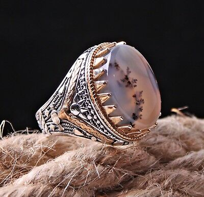 Yemeni AGATE Aqeeq Turkish 925 Sterling Silver Mens Mans Ring Sz 10 Free Resize