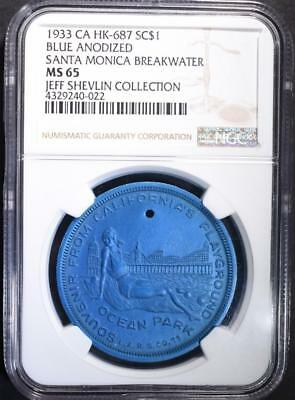 1933 Hk-687 Blue Anodized, Ngc Ms-65 Rare!!  Very Nice So Called Dollar