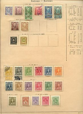 Montenegro 1905-07 Album Page Of Stamps #V6985