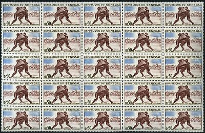 Senegal 1961 Sports, 50c Wrestling MNH Block Of 25 #V6934