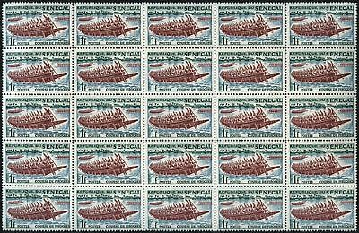 Senegal 1961 Sports, 1f Pirogue Race MNH Block Of 25 #V6936
