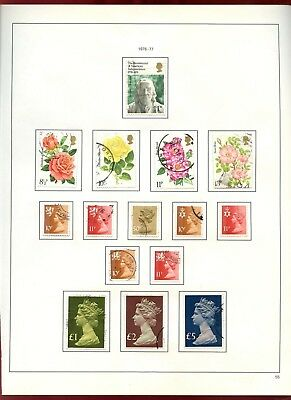 GB Used Comemoratives + Regionals, Machins 1976-77 Album Page Of Stamps #V6863