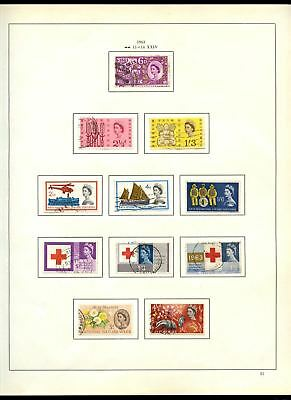GB Used Comemoratives 1963 Album Page Of Stamps #V6834