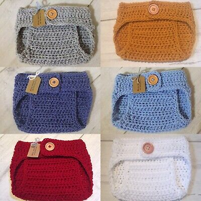 Handmade Crocheted/Knitted Adjustable Waist Nappy Cover 0-3 Months. Various Col
