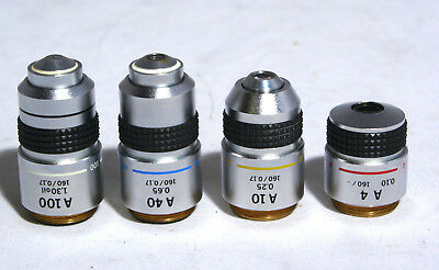 Lot Of 4 Olympus 160mm Microscope Objectives A 4X, A 10X, A 40X, A 100X BH2,CH2
