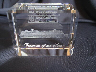 Freedom Of The Seas Crystal Block Paperweight Royal Caribbean