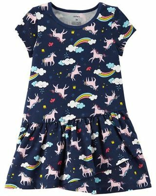 New Carter's Girls Rainbow Unicorn Dress NWT 3T 5T Girl Soft Knit Cotton