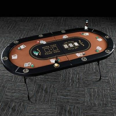 Folding Poker Table Top 10 Player Cup Holders Portable Card Game Room Accessory