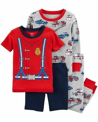 6fa61964edc3 NEW Carter s 4 Piece Boys Fire Chief Dress Up Cotton PJs NWT 2T 3T 4T 5T
