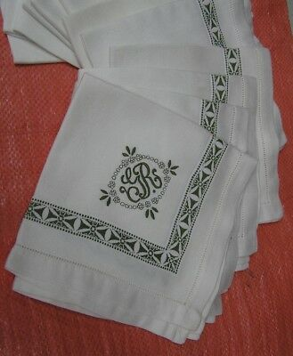 Set of  12  Vintage  Tea NAPKINS Linens  Embroidered FANCY  MONOGRAM   G R