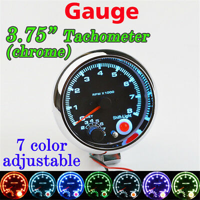 "3 3/4"" Car Tachometer Tacho Gauge 7 LED Colors Adjustable Shift Light 0-8000 RPM"