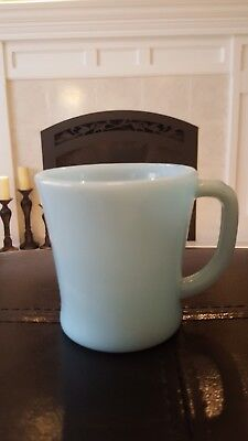 Vintage Fire-King Oven Ware Delphite AzurIte Blue D Handle Glass Coffee Mug