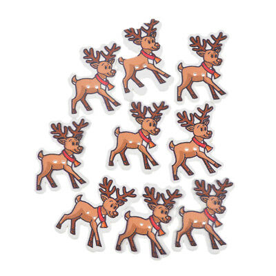 50PCs Mixed Christmas Deer Wood Button Two Holes Scrapbooking Crafts 3.5x2.5cm