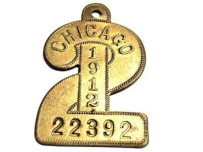 1912 Chicago Dog Tax License Tag - numeral