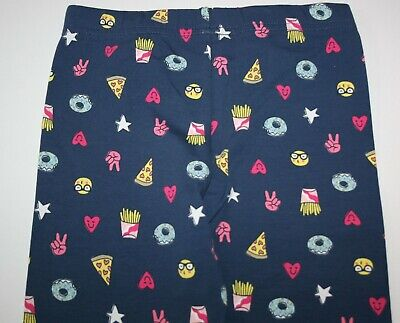 New Carter's Girls Navy Blue Food Faces Print Leggings  NWT 6 7 8 10 12 14 year
