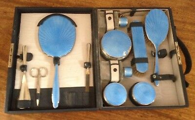 Antique Silver Plate & Guilloche Travelling Dressing Table Set.