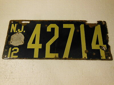 1912 New Jersey Porcelain License Plate Original with Seal #156870
