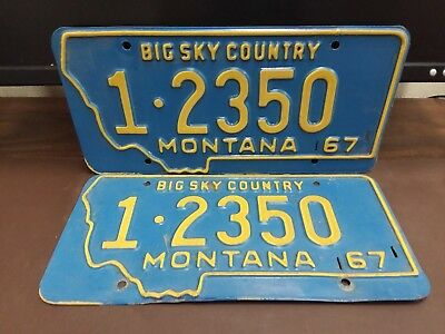 NICE PAIR 1967 Montana SILVER BOW CO   License Plate Tag
