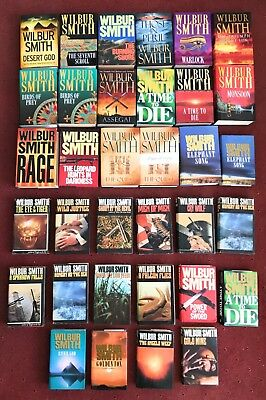 WILBUR SMITH COLLECTION OF 34 BOOKS, SIGNED COPY, 1st EDITIONS, VG CONDITION