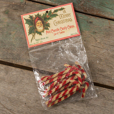 Set of 12 Christmas Primitive Rustic Country Mini Chenille Candy Cane Ornaments