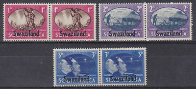 Swaziland 1945 Mint MLH Full Set 3x2 values Pairs King George KGVI Overprints