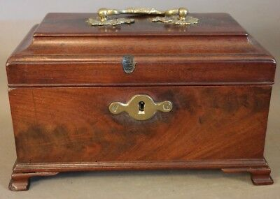 19thC Antique VICTORIAN Era FEDERAL CASKET Style TEA CADDY Old WOOD LOCK BOX