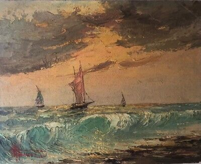 Painting By Richard DeTreville Early CA artist Nautical, Seascape Boats