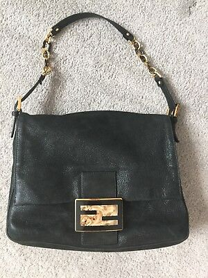 5f3581355e GREAT CONDITION FENDI Big Mamma black leather shoulder bag gold FF ...