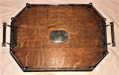 Lg. Antique English Tiger Oak Silverplate Gallery Serving Tray Coffee Tea Table