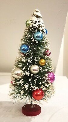 """Green Brush Tree, snow covered, with tiny glass ornaments. Neat!  Japan. 9.50"""""""