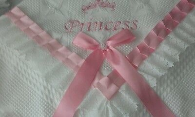 beautiful white/pink baby girls shawl **NEW**  PRINCESS can be personalised