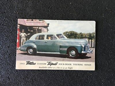 Vintage Postcard with a 1941 Pontiac Custom Torpedo