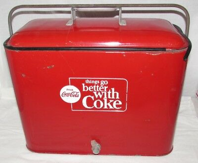 """Vintage Coca Cola """"things go better with Coke"""" Cooler Progress Refrigerator Co."""